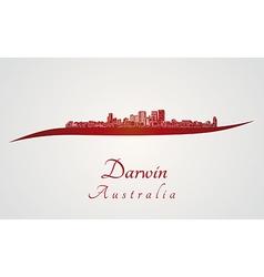 Darwin skyline in red vector image