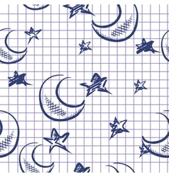 Doodle Moon And Stars Background vector image
