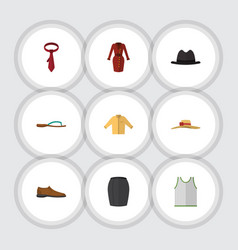 Flat icon clothes set of elegant headgear singlet vector