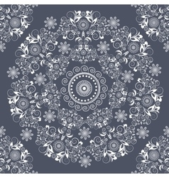 Greeting card with flowers ornament circular gray vector