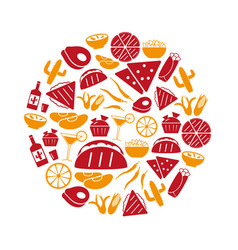 mexican food theme set of simple icons in circle vector image
