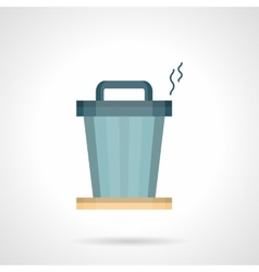 Office trash can flat color icon vector image