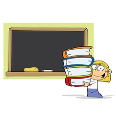 School Girl Carrying Books vector image vector image