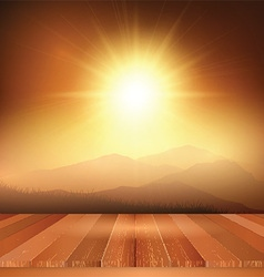 wooden table looking out to sunny landscape 0704 vector image vector image