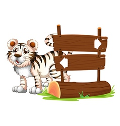 A tiger at the back of a wooden signboard vector image