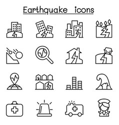earthquake icon set in thin line style vector image vector image