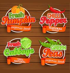 farm fresh organic food label vector image vector image