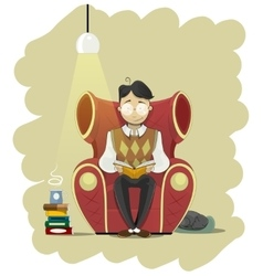 Man in glasses sits in chair and read book vector image