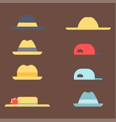 summer panama hats straw fashion head sun vector image