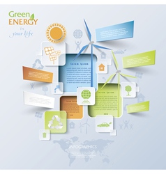 Abstract Infographic with wind turbines green ener vector image vector image