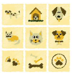 assembly flat shading style icons dog cats pets vector image