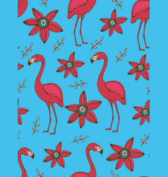 Flamingo and flowers colorful seamless pattern vector