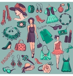 Hand drawn Beauty and Fashion collection vector image vector image