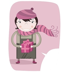 Happy little girl and gift box vector image