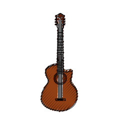 scribble brown guitar cartoon vector image