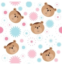 Seamless isolated pattern with bears and flowers vector image vector image