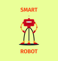 smart red robot poster vector image
