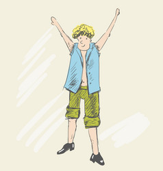 A blonde teenager raised his hands up vector
