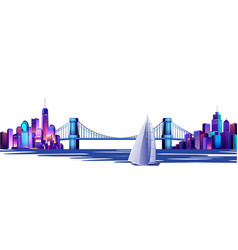 Abstract cityscape with a bridge vector