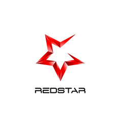abstract red star logo symbol icon vector image