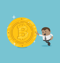 african businessman with coins bitcoin vector image
