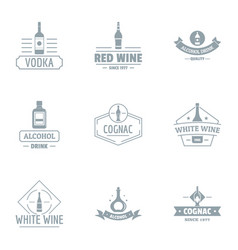 Alco party logo set simple style vector