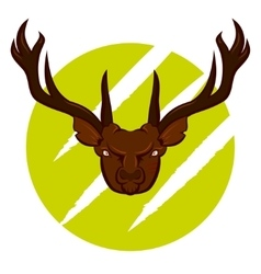 Angry deer badge vector