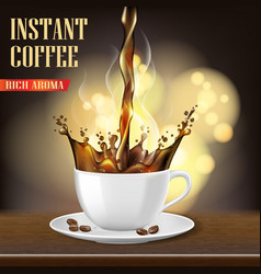 Aroma black arabica coffee cup and beans ads vector