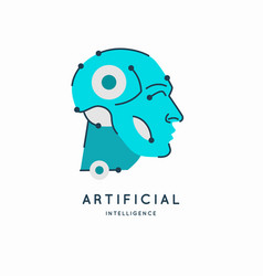artificial intelligence conceptual sign and logo vector image
