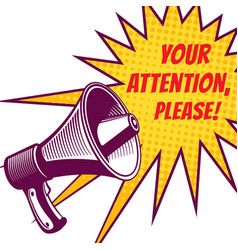 attention please symbols with megaphone vector image