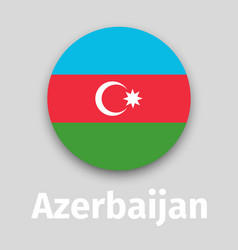 azerbaijan flag round icon vector image