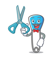 Barber safety pin character cartoon vector