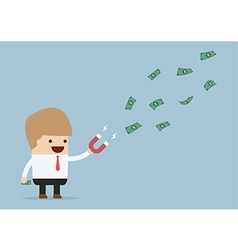 Businessman using magnet to attracts money vector image