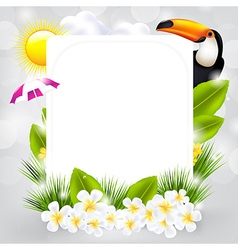 Card With Bird And Flowers vector image