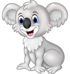 Cartoon funny koala sitting isolated vector
