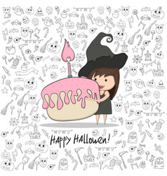 Cartoon girl witch holding cupcake and birthday vector