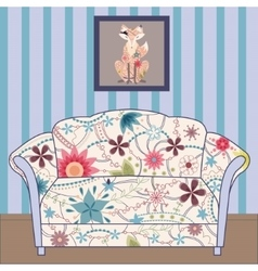 Cartoon interior with couch painted vintage vector image vector image