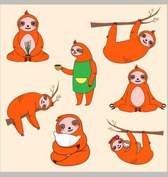 cartoon sloths family adorable sloth sleepy vector image