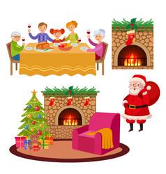 christmas holiday scenes set vector image