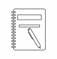 Closed spiral notebook and pen icon outline style vector image