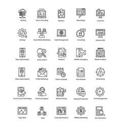 Collection web and seo line icons vector