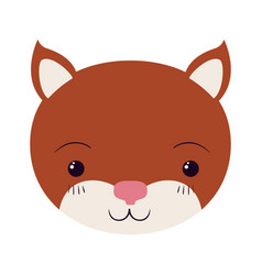 Colorful caricature cute face kitten tranquility vector