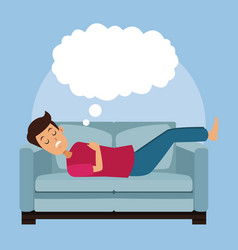 Colorful scene guy sleep with in sofa with cloud vector
