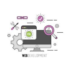 computer with code programing software data vector image