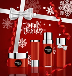 Cosmetics packaging Holiday Gift with Christmas vector