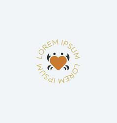 Crab heart idea logotype seafood love vector