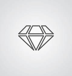 Diamond outline symbol dark on white background vector