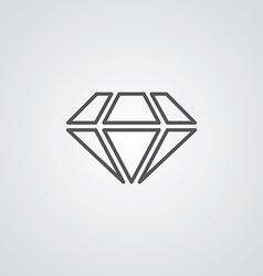 Diamond outline symbol dark on white background vector