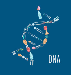 Dna strand symbol with medical examination icons vector