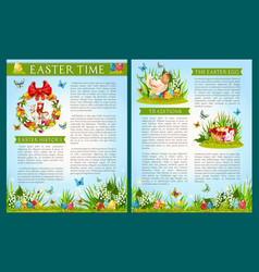 easter egg hunt celebration brochure template vector image
